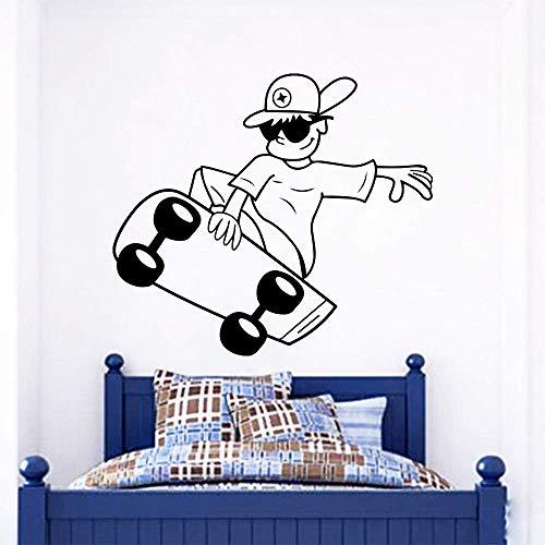 Muurstickers kinderkamer kunst poster skateboard jongen sport muur sticker hiphop kinderen jongens slaapkamer decor skateboard sport muurschildering 57x50cm