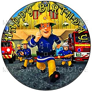 7.5 Inch Edible Cake Toppers – Fireman Sam Running Action Themed Birthday Party Collection of Edible Cake Decorations