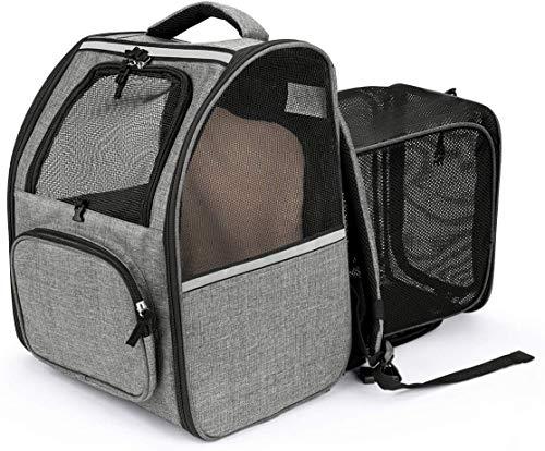 CatRomance Hunderucksack Haustier Rucksack, Erweiterbare und Faltbare Katzenrucksack mit Mesh, Atmungsaktive & Einstellbare Tragetasche für Katzen und kleine Hunde Welpen, bis 6.5kg