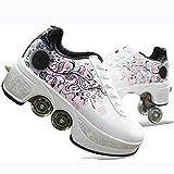 2-In-1多目的ホイールシューズスケート4車輪調整可能なクワッドローラーブーツ変形不可視スケート roller skates 1125 (Color : 白い, Size : 39)