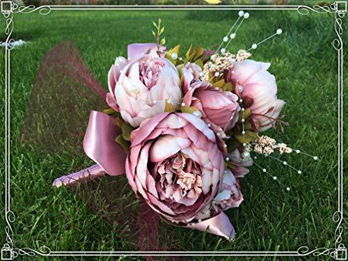 ONDEGO Brautstrauß Blumenstrauß Blumen Hochzeit Braut Strauß Altrosa Rosa Creme Pfingstrosen Kunstblumen Vintage