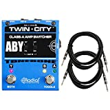 Radial Bones Twin City Active ABY Amp Switcher Pedal with 2 Senor - 18.6ft Instrument Cable