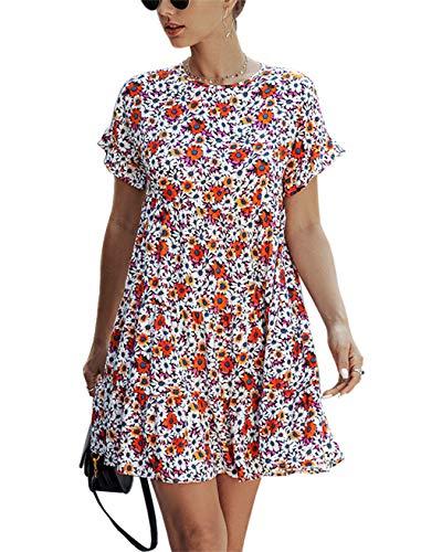 KIRUNDO 2020 Summer Women's Ruffle Mini Dress Short Sleeves Leopard Print Round Neck Loose Pleated Dress (Small, Q_Black)