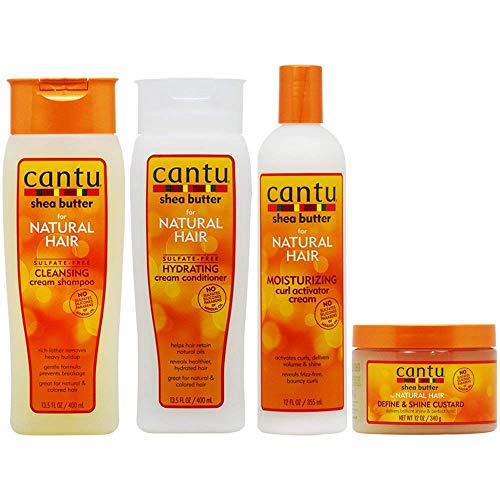 Cantu Cleansing Cream Shampoo + Conditioner + Curl Activator Cream + Define & Shine Custard'Set'