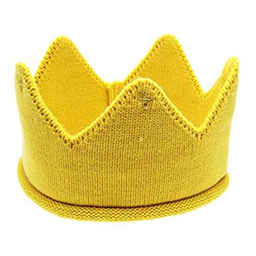 Neugeborene Baby Krone Strickmütze Stoff Krone Cap Stirnband Kopfschmuck für Geburtstag Party Karneval Fasching Hochzeit Dekor Gestrickter Kappe Kinder Kind Hüte