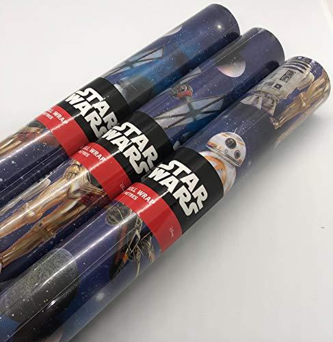 Hallmark - Rollo de papel de regalo, diseño de Star Wars de 9 m, 3 rollos de 3 m.