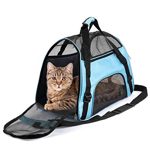ペットキャリーバッグ 猫 キャリー 小型犬?うさぎ用 マット付き 通気性抜群 3way ショルダー 手提げ 猫 キャリーケース ブルー