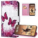 Custodia a portafoglio per Huawei P40 Pro, in pelle PU con chiusura magnetica a portafoglio e design carino con porta carte di credito, con supporto in silicone morbido, farfalla-1