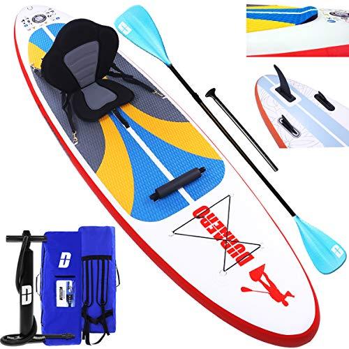 DURAERO Stand up Paddle Board Aufblasbare SUP Board kajak Stand up Paddling Board, Kajak Komplett-Set, Luftpumpe, Doppel-Paddel, Komplettes Zubehör, 305x76x15cm, bis 110kg, Weiß