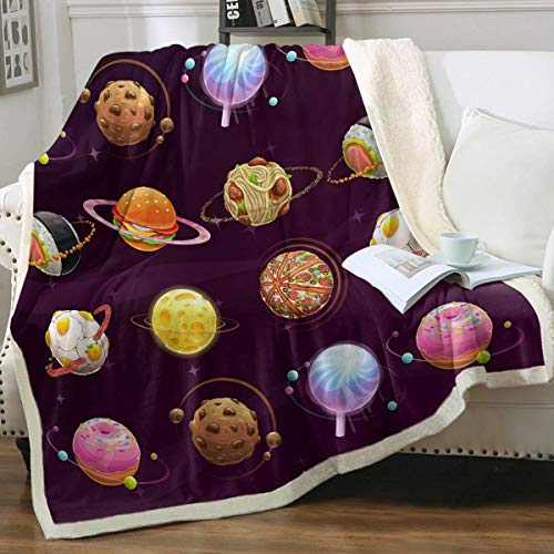 Manta De La Siesta Felpa Sofás Franela Food Planet Pizza Queso Hamburguesa Funny Space 3D Universe Fuzzy,Soft,Warm ((Queen Size 80'x60')) Buen sueño Warm Lightweight Fleece Cozy Blanket
