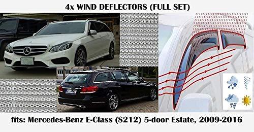 4er-Set Windabweiser zum Aufkleben, kompatibel mit Mercedes E-Klasse 5-Türer Kombi W212 2009 bis 2016 Modelle Acrylglas Fensterabweiser