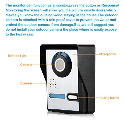 FLOUREON Kit de Teléfono con Timbre Intercomunicador con 2 Monitores a Color LCD DE 7', 1 Cámara IR al Aire Libre, Visión Nocturna, Video Portero para Uso en el Hogar