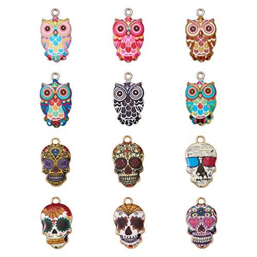 Beadthoven - 48 ciondoli smaltati a forma di gufo e teschio, colorati, ciondoli per orecchini, collane e per la realizzazione di gioielli fai da te