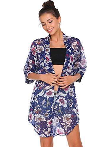 Bluetime Women's Floral Sheer Crop Sleeve Chiffon Kimono Blouse (L, Black)