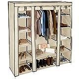 TecTake Kleiderschrank Stoffschrank Garderobe Faltschrank mit Kleiderstange & 12 Fächern
