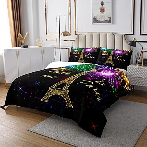 Eiffelturm Tagesdecke Blühende Feuerwerk Tagesdecke Für Mädchen Teens Paris Urban Building Gesteppte Romantische Nachthimmel Tagesdecke Quilt Set Schlafzimmer Dekor Mit 2Kissenbezüge 220x240