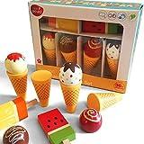 Bee Smart – Spielzeugset aus Holz Holz Eis Zapfen und Lollies Pretend Play Set, Stieleis und Eis in der Waffel, Set, magnetische, austauschbare Teile