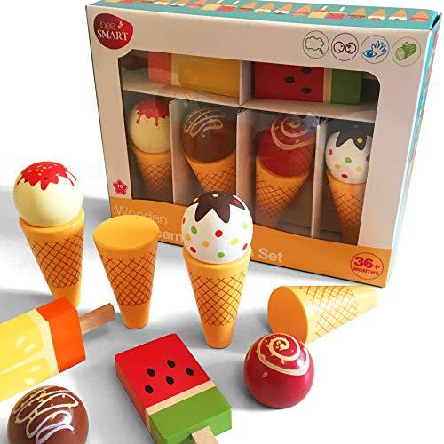 bee SMART Jeu d'imitation - Cuisine - Jeu de Cornets de Crème Glacée magnétique avec bâtonnets Glaces