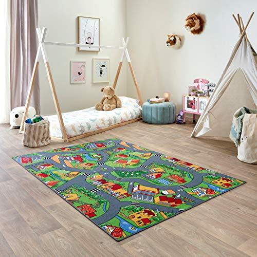 Carpet Studio Teppich Kinderzimmer 140x200cm, Spielteppich Straße Jungen & Mädchen für Schlafzimmer & Spielzimmer, Antirutsch, 30°C waschbar - Little Village