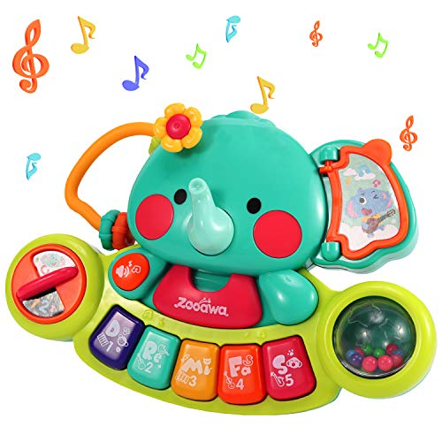 Zooawa Multifunctional Musical Elephant Keyboard Piano Toy, Educational Learning Toy Machine Gift Set for 6 Months Toddlers Infants Boys and Girls with Flashing Lights Sounds - Colorful
