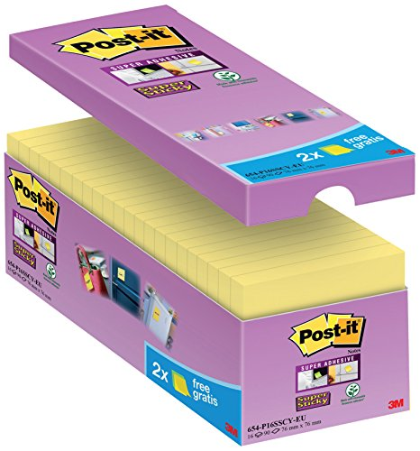 Post-It Super Sticky Tradizionale Confezione Risparmio, Foglietti Formato 76 x 76 mm, 16 Blocchetti, Giallo Canary