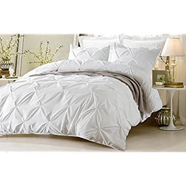 Kotton Culture Pinch Pleated Duvet Cover Set 3 Piece With Zipper & Corner Ties 100% Egyptian Cotton 600 Thread Count Hypoallergenic (1 Duvet Cover 2 Pillow Shams) (Cal King/King, White) by