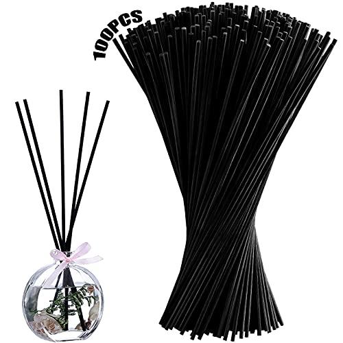 Caña de ratán 100 Piezas Cañas de ratán Caña de Aceite Palos de bambú Palos de ratán Palos difusores Palitos de Aceite Palillos de bambú para la Cocina de la Oficina en casa Negro 20 * 0.3 cm