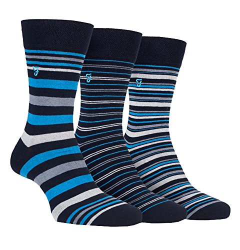 Farah - 3 Pack Mens Colorful Breathable Cotton Designer Dress Socks (7-12 US, CS117NVY (Striped))
