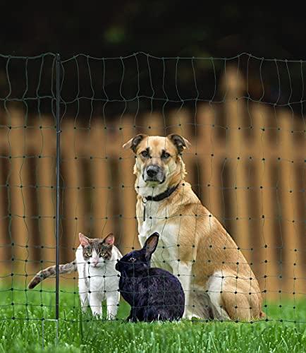 Landkaufhaus Mayer Hundezaun Katzenzaun Geflügelzaun Geflügelnetz Hühnerzaun 25m grün +9 Pfähle Hütezaun Hütenetz Hunde/Katzen-Zaun Einzäunung