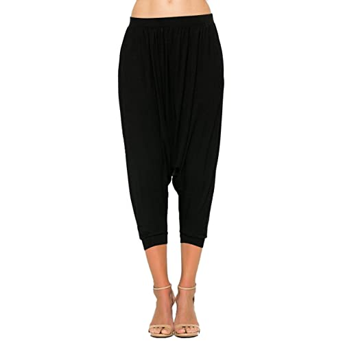 e533365fec309 Annabelle Women's Comfy High Waist Harem Jogger Pants with Pockets