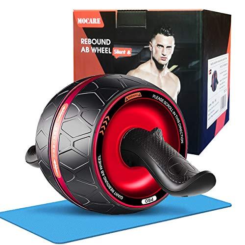 腹筋ローラー エクササイズローラー アブホイール 自動リバウンド式 エクササイズウィル 超静音 腹筋 トレーニング 膝マット付き ダイエット器具 簡単組み立て 男女兼用