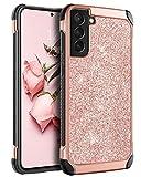 BENTOBEN Funda para Samsung Galaxy S21, Carcasa Samsung Galaxy S21 Case Cover Combinada 2 en 1 PC Durable + TPU Silicona Híbrida Anti-Golpes Protectora Funda para Samsung Galaxy S21 6.2', Oro Rosa