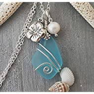 Handmade in Hawaii, wire wrapped blue sea glass necklace, Hibiscus and freshwater pearl, (Hawaii...