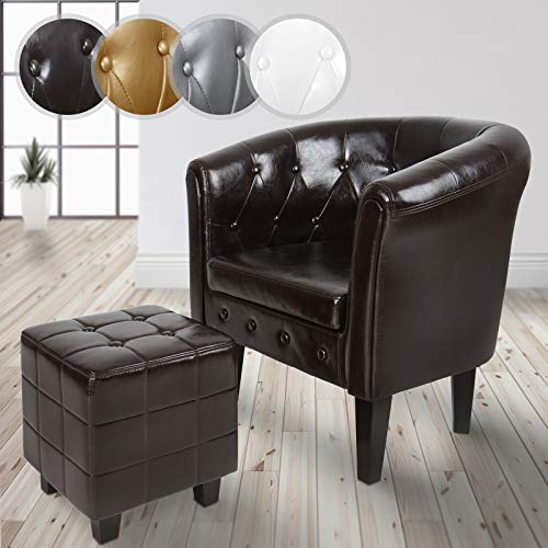 Fauteuil Chesterfield + repose pieds