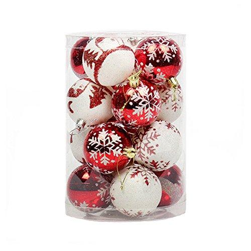 16 Pezzi Infrangibile Lusso Palline Di Natale, Ciondoli Decorazioni Natalizie, Brillante/Luccichio, Rosso E Bianca, 6Cm(2.4')
