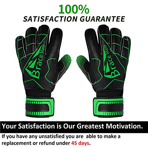 Brace Master Torwarthandschuhe mit Fingerschutz,Protect & Super-Grip 3+3MM Handflächen Fussball Torwarthandschuhe Kinder Herren & Erwachsene - Diverse Größe und Farben - 2