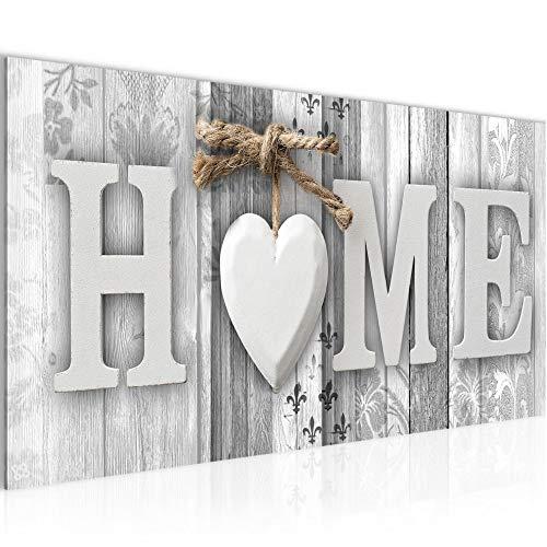 Wandbilder Home Holzoptik Modern Vlies Leinwand Wohnzimmer Flur Landhausstil Schwarz Weiss 503312c