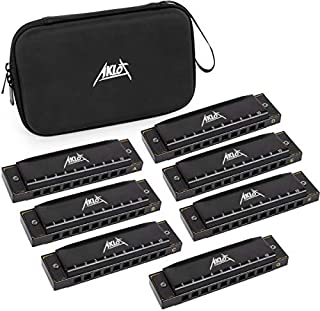 AKLOT Blues Harmonica Set Key of A,B,C,D,E,F,G, 7 Tone 10 Holes Harmonicas with Hard Case