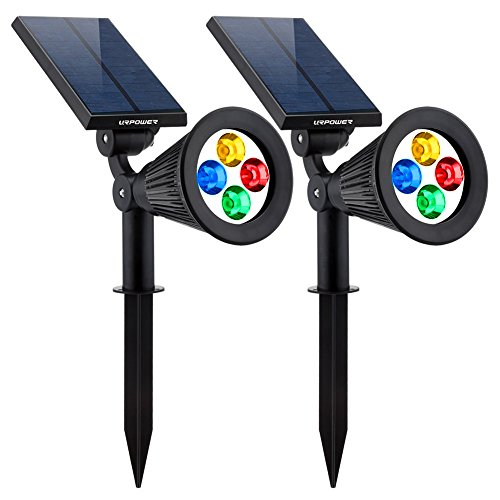 URPOWER Solar Lights 2-in-1 Solar Powered 4 LED Adjustable Spotlight Wall Light...