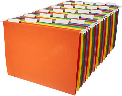 AmazonBasics Hanging Organizer File Folders - Letter Size, Assorted Colors, 25-Pack