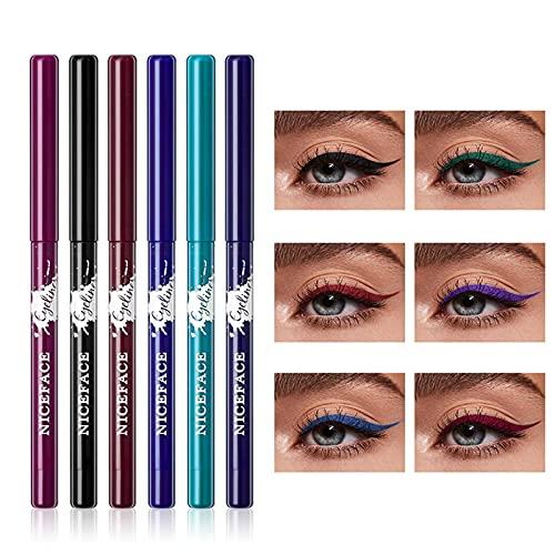 Lápices delineadores de ojos de 6 colores - Lápiz delineador de ojos en gel de colores, Lápiz delineador de ojos en gel mate, Kit de delineador de ojos colorido de larga duración a prueba de agua