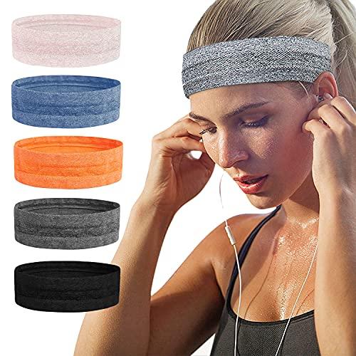 Sport-Stirnbänder, rutschfest, Schweißband, für Damen und Herren, für Laufen, Yoga, Radfahren, Basketball (5PC)…