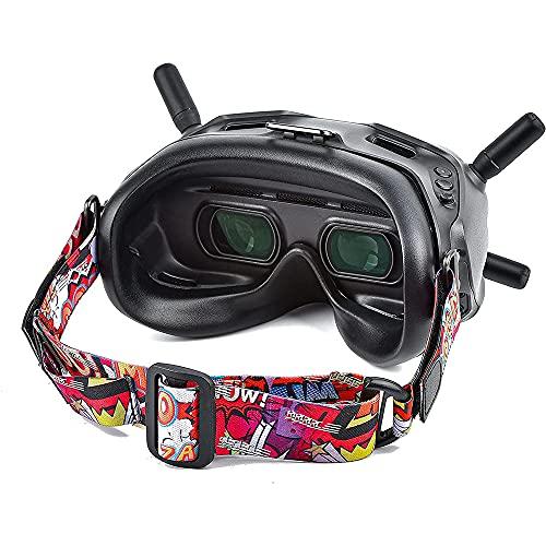 Tmom Brillenbänder für DJI FPV, Fester Brillengurt für Drone Brille und Andere Brillen, Bunt, Verstellbar (Rot)