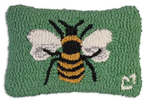 "Chandler 4 Corners Artist-Designed Honey Bee Hand-Hooked Wool Decorative Petite Throw Pillow (8"" x 12"")"