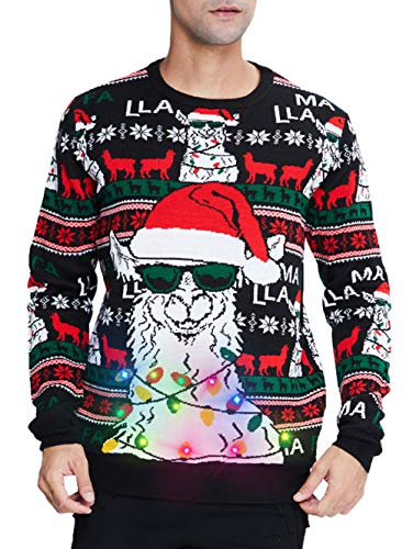 uideazone Men's Led Ugly Christmas Sweater Llama Alpaca with Glasses Light up Long Sleeve Knit Xmas Pullover Jumper for Party