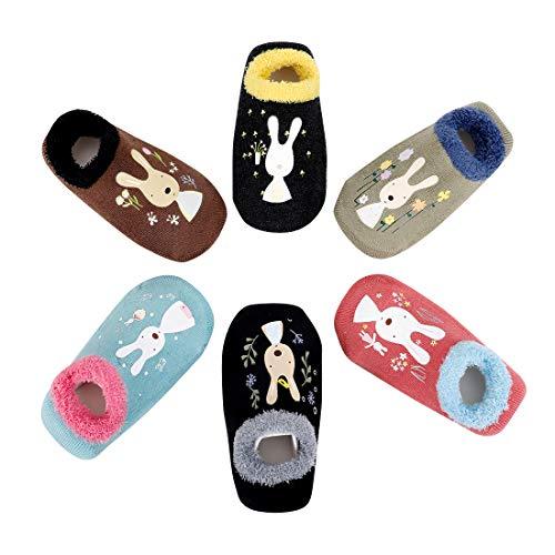 6 Paare Babysocken Dick Warm Baumwolle Babysöckchen Kindersocken Anti Rutsch Niedlich Tier Socken für Baby Jungen Mädchen