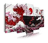 DekoArte 536 - Quadri moderni Stampa di Immagini Artistica Digitalizzata   Tela Decorativa Per Soggiorno o Stanza da letto   Stile Astrazioni Arte La Grande Onda Di Kanagawa Rosso   5 Pezzi 150x80cm