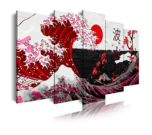 DekoArte 536 - Quadri Moderni Stampa di Immagini Artistica Digitalizzata | Tela Decorativa per Soggiorno o Stanza da Letto | Stile Astrazioni Arte La Grande Onda di Kanagawa Rosso | 5 Pezzi 150x80cm