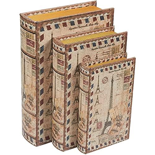 Juego de 3 cajas en forma de libro - Caja decorativa en forma de libro para almacenamiento de dinero, joyas, diseño de la Torre Eiffel, 3 tamaños diferentes, 20 cm, 25 cm, 30 cm