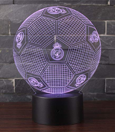 3D Illusion Nuit Lumière Win-Y LED Bureau Table Lampe 7 Couleur Tactile Lampe Maison Chambre Bureau Décor pour Enfants D'anniversaire De Noël Cadeau (Real Madrid Football 2)